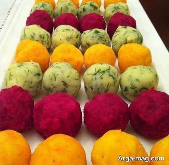 تزیین پوره سیب زمینی با سبزیجات