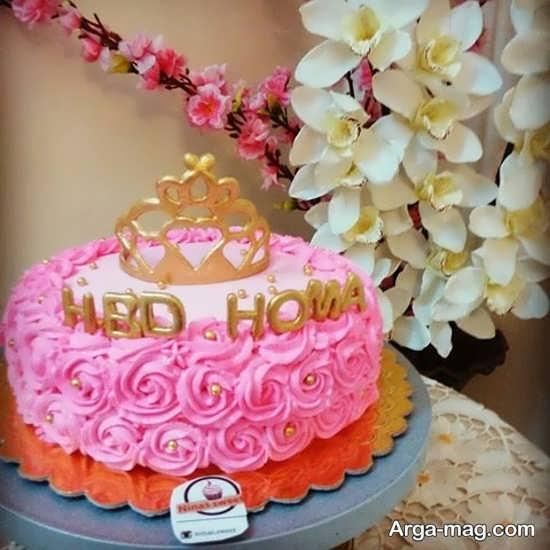کیک تولد صورتی زیبا