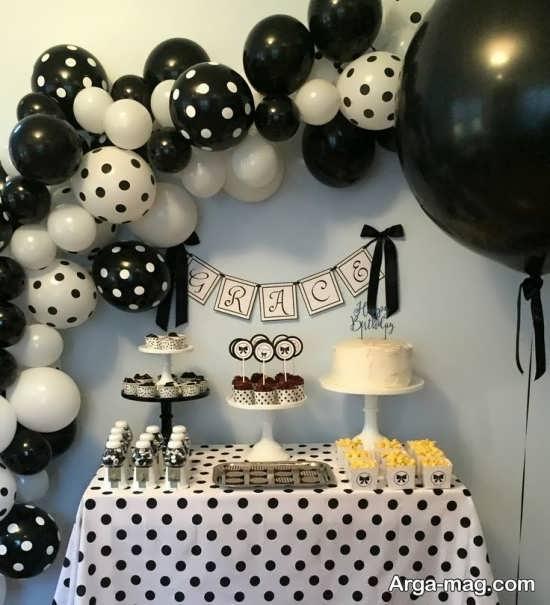 دیزاین زیبای جشن تولد با طرح مشکی سفید