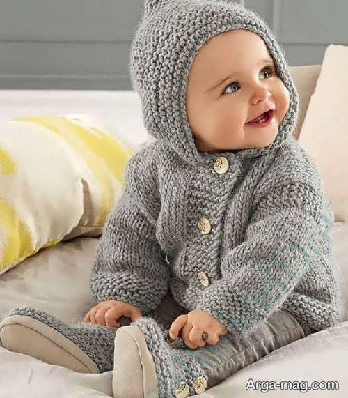 مدل کلاه دار ژاکت بافت پسرانه