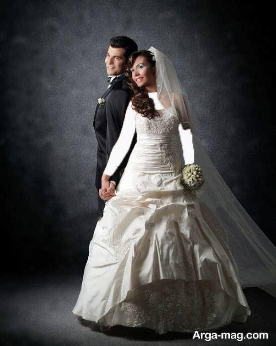 ژست خاص و متفاوت عروس و داماد