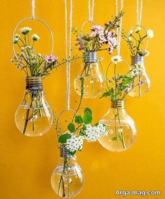 ایده هایی برای ساخت گلدان با لامپ