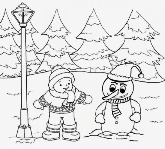 نقاشی زمستان برای بچه ها