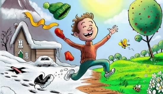 نقاشی چهار فصل کودکانه و جذاب