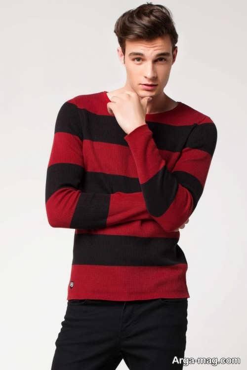 مدل ژاکت بافتنی پسرانه قرمز و مشکی