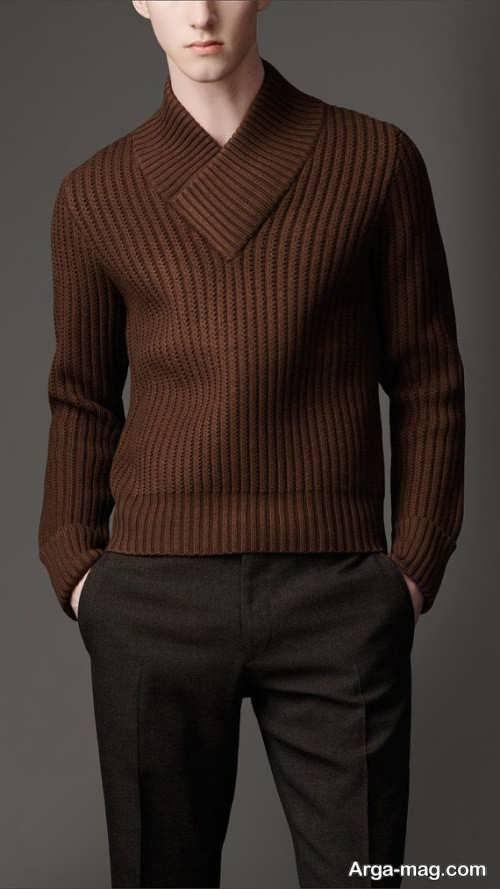 مدل ژاکت بافتنی پسرانه قهوه ای