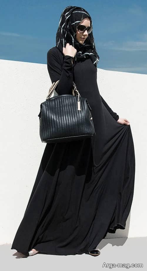 مدل مانتو مشکی ساده لبنانی
