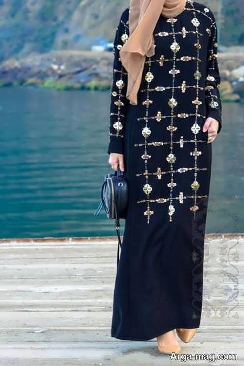 مدل مانتو بلند طرح دار لبنانی