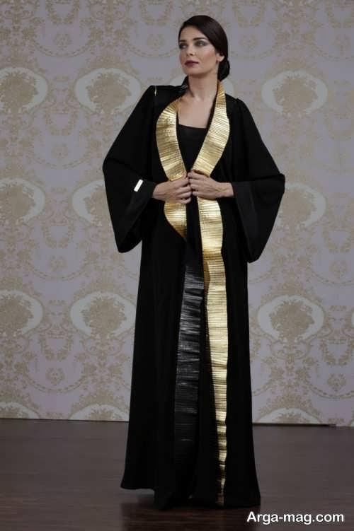 مدل مانتو مشکی و طلایی لبنانی