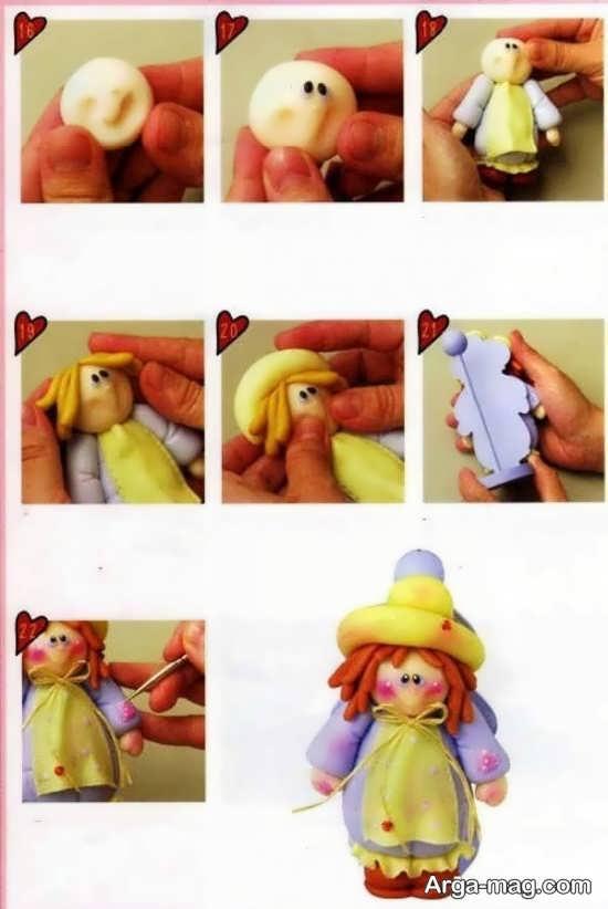 مراحل ساخت عروسک های زیبا با خمیر چینی