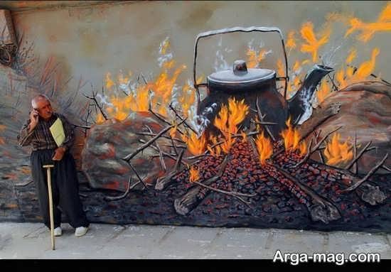 نقاشی سنتی روی دیوار