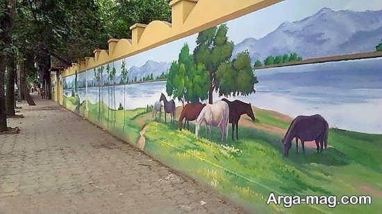 نقاشی منظره روی دیوار