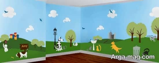 تزیین دیوار داخلی مهدکودک با نقاشی