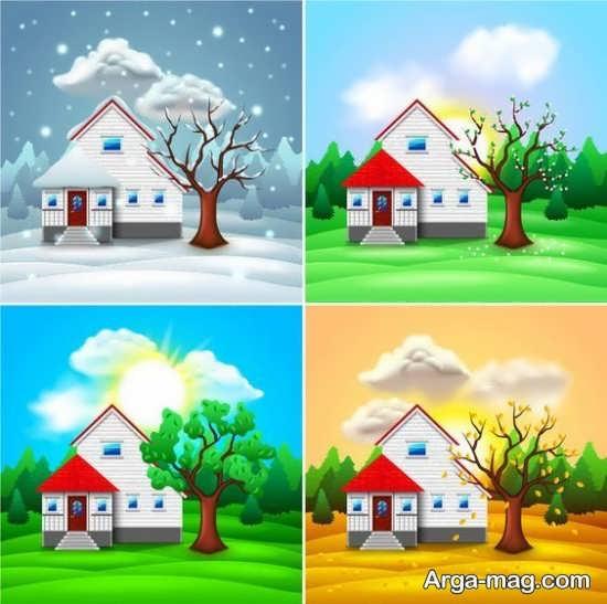طراحی فصل ها همراه با رنگ آمیزی