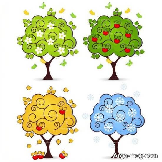 نقاشی فصل ها همراه با رنگ آمیزی