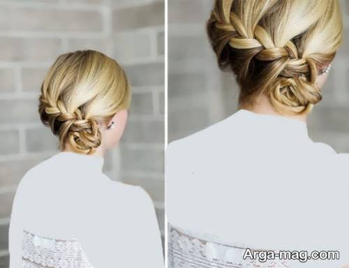 مدل شینیون بسته همراه با بافت مو