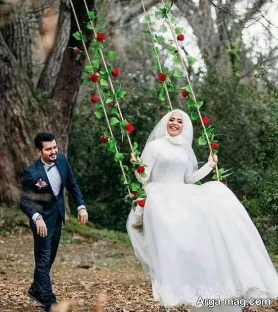 ژستی زیبا از عروس و داماد