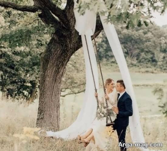 ژستهای عروس و داماد در باغ