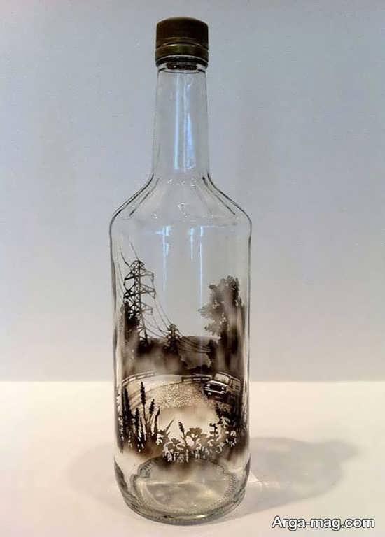 طراحی های دودی بر روی بطری های شیشه ای