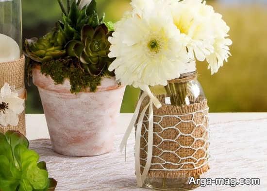 تزیین و ساخت گلدان با بطری شیشه ای