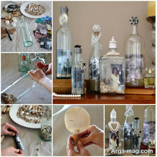 تزیین بطری های شیشه ای