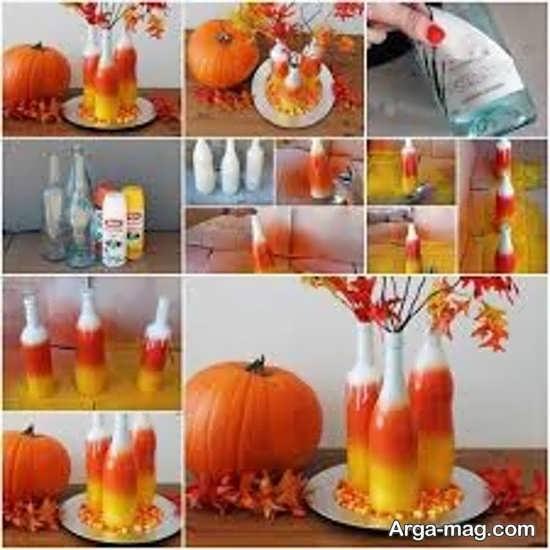 تزیین بطری های شیشه ای به وسیله رنگ