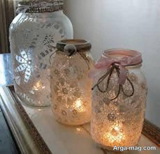 با بطری های شیشه ای جا شمعی بسازید