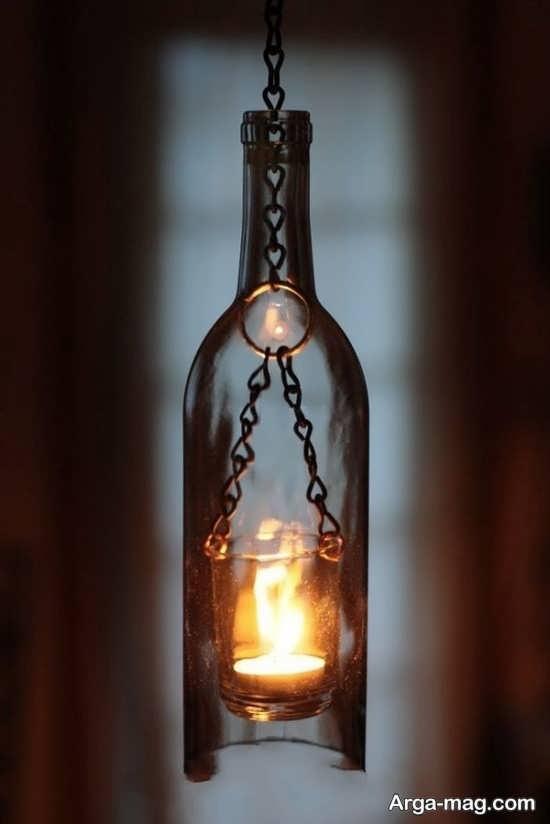 ساخت جا شمعی با بطری شیشه ای