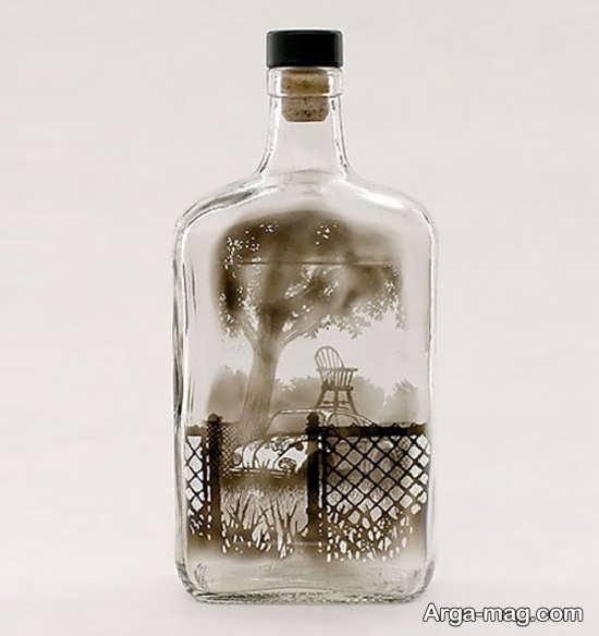 طراحی روی بطری شیشه ای با دود