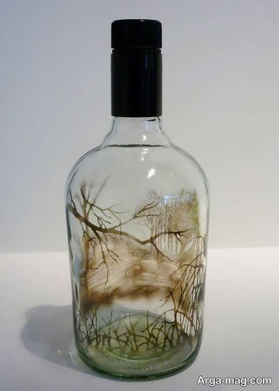 طرح اندختن با دود روی بطری شیشه ای