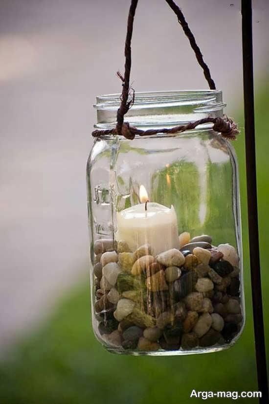 ساخت جا شمعی بابطری شیشه ای و سنگ ریزه