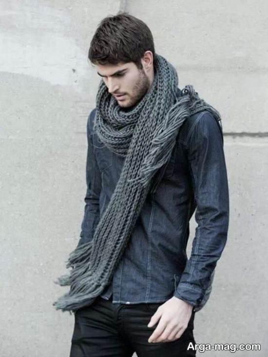 مدل بافت شال گردن مردانه شیک