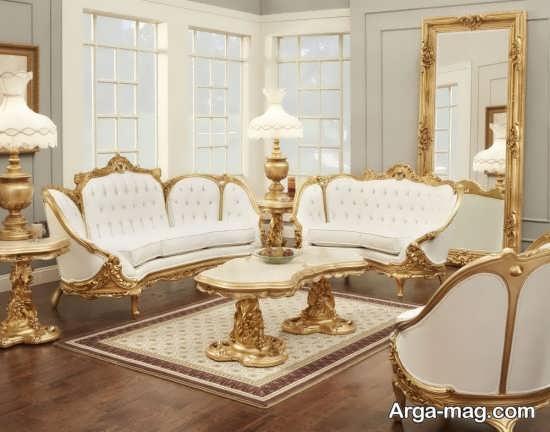 مبلمان سلطنتی با رنگ سفید و طلایی