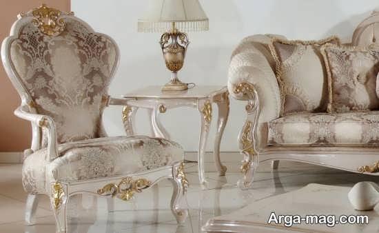 مبل سلطنتی شیری و طلایی
