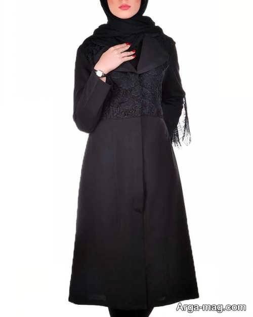 مدل مانتو مشکی و شیک برای خانمهای میانسال