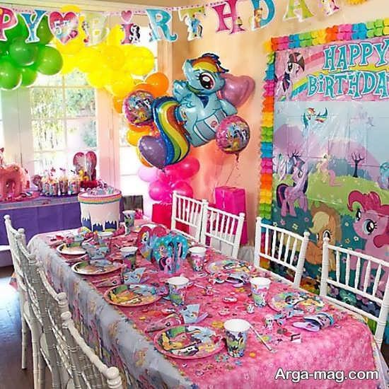 تزیین سالن تولد با تم تولد پونی کوچولو