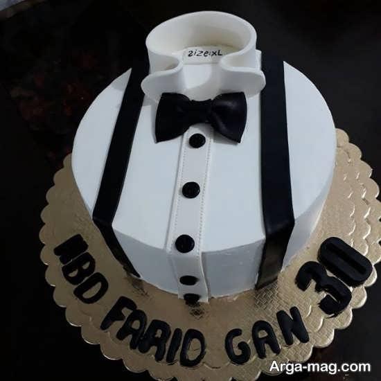 کیک تولد با طراحی جالب سیاه و سفید