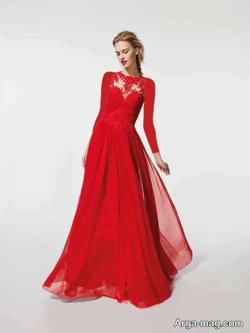 مدل لباس شب قرمز و بلند