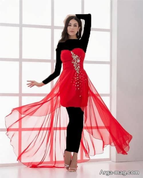 لباس شب قرمز و دکلته 2018