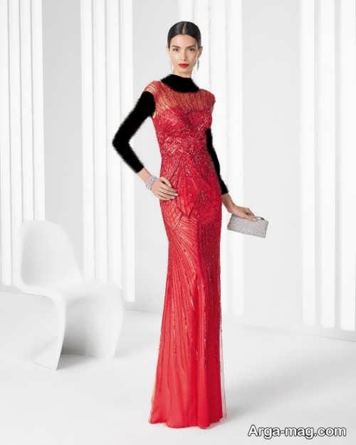مدل لباس شب قرمز و بلند 2018