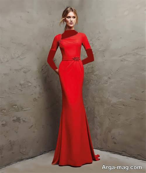 لباس شب قرمز و شیک 2018