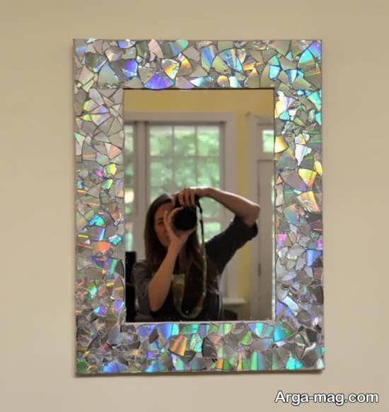 تزیین زیبا قاب آینه با سی دی های شکسته