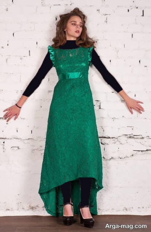مدل لباس ماکسی گیپور سبز