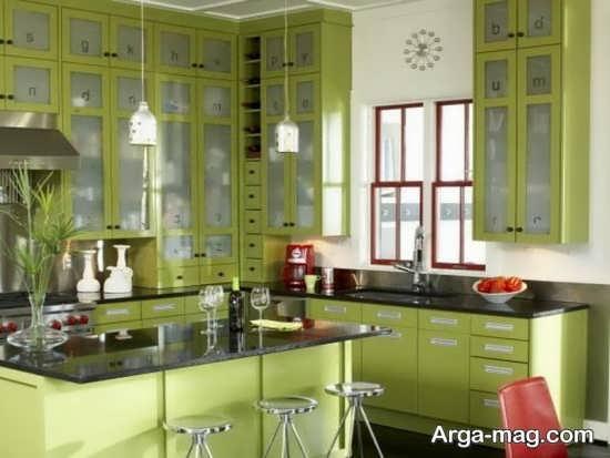 طرح کابینت به سبک رومی سبز رنگ