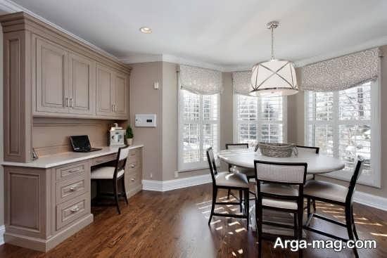 مدل کابینت به سبک رومی با چیدمان کلاسیک آشپزخانه