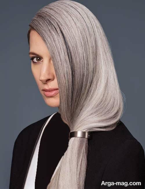 رنگ موی زنانه شیک نقره ای