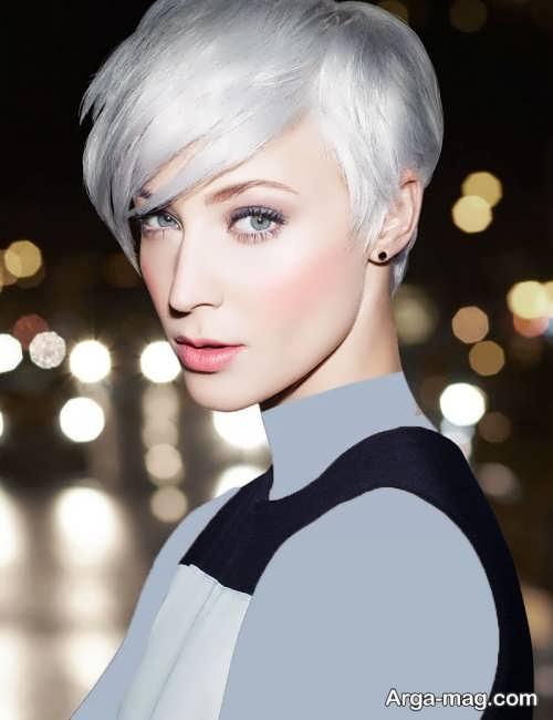 مدل رنگ موی نقره ای روشن