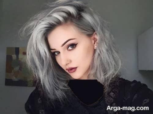 رنگ موی زیبا و جذاب نقره ای