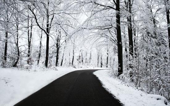 عکس جاده برفی