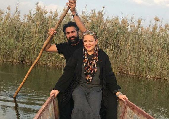 قاشق سواری بهاره رهنما و همسرش